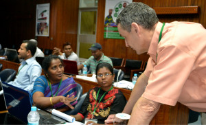 Dr. Gerrit Hoogenboom answering participants questions during Crop System Models training ICRISAT