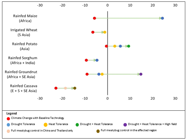 Figure: Effects of Climate Change and Promising Technologies on Biophysical Yields in 2050